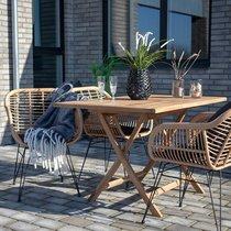 Table de jardin rectangulaire 120x80x75 cm en teck naturel
