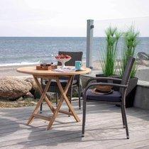Table de jardin ronde 100x75 cm en teck naturel