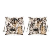 Lot de 2 galettes de chaise 40x40 cm en tissu noir et beige - TAITHI