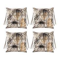 Lot de 4 galettes de chaise 40x40 cm en tissu noir et beige - TAITHI