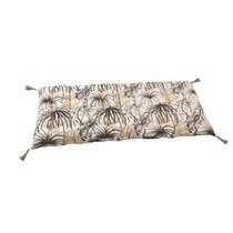 Coussin avec pompons 120x60 cm en tissu noir et beige - TAITHI