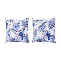 Lot de 2 coussins imperméables 45x45 cm bleu et blanc