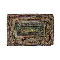 Tapis 180x120 cm en jute et coton multicolore