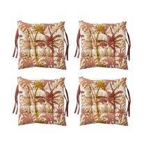 Lot de 4 galettes de chaise 40x40 en tissu imprimé terracotta - BALI