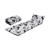 Coussin pour transat 160x60 cm en tissu noir et blanc