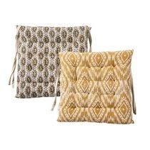 Lot de 2 galettes de chaise 40x40 cm en tissu imprimé moutarde - OLDY