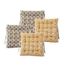 Lot de 4 galettes de chaise 40x40 cm en tissu imprimé moutarde - OLDY