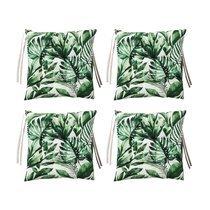 Lot de 4 galettes de chaise 40x40 cm en tissu imprimé feuilles - VERDY