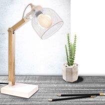 Lampe à poser grille 26x14x38 cm en métal blanc et pin