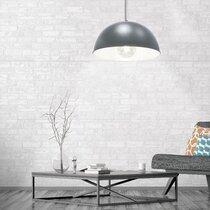 Suspension ronde 40x22 cm en métal gris et blanc
