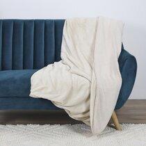 Plaid 140x200 cm en polyester et sherpa beige