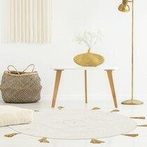 Tapis rond à pompons 90 cm en coton beige