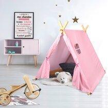 Tente pour enfant 116x115x105 cm en tissu blanc et rose