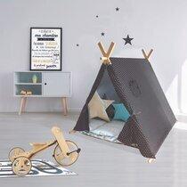 Tente pour enfant 116x115x105 cm en gris foncé et blanc