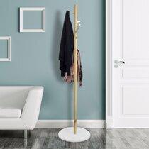 Portemanteau 40x130 cm en bois naturel et blanc