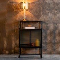 Vitrine 2 portes 60x35x105 cm en verre nervuré et métal - BOLI