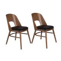 Lot de 2 chaises repas 45x59x87 cm noyer et noir
