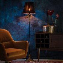Lampadaire 25x25x131 cm avec abat-jour en velours noir