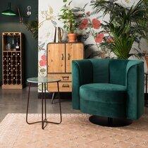 Fauteuil pivotant 86x74x76 cm en velours vert foncé