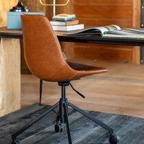 Chaise de bureau à roulettes 67,5x67,5x82 cm en PU marron - FRANKY