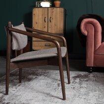 Fauteuil 64x67x70 cm en tissu gris avec motif chevrons et bois