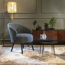 Fauteuil 66x73,5x77 cm en tissu bleu et pieds noirs - WALDO