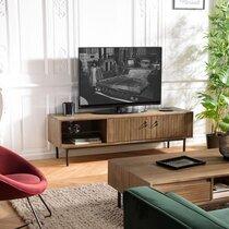 Meuble TV 2 portes 1 niches 160x45x50,5 cm en acacia marron - REHON