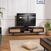 Meuble TV 2 portes noir et cannage naturel - GJORGA