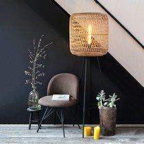 Lampadaire trépied 50x143 cm en rotin naturel et métal noir