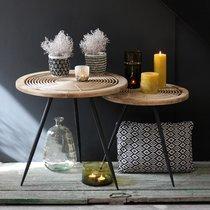 Lot de 2 tables d'appoint rondes 61 et 49 cm en rotin et métal