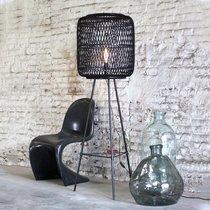 Lampadaire 50x143 cm en rotin et métal noir