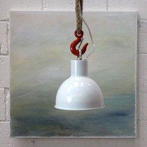 Suspension industrielle 18x18x17 cm en corde et métal blanc