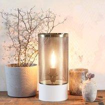 Lampe à poser ronde 12x26 cm en métal blanc mat et laiton