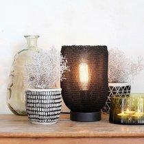 Lampe à poser ronde 17,5x27 cm en métal et nylon noir