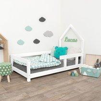 Lit avec tête de lit cabane 90x200 cm blanc - ROBBY