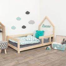 Lit avec tête de lit cabane 90x200 cm naturel - ROBBY