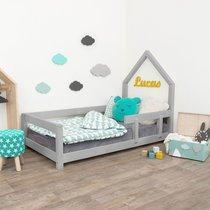 Lit avec tête de lit cabane 90x200 cm gris - ROBBY