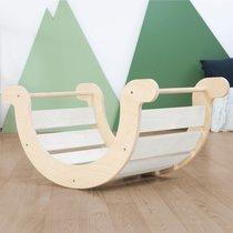 Bascule enfant 124x65x85 cm en bois blanc et naturelle - NALYA