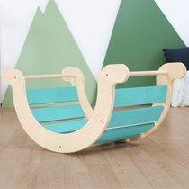 Bascule enfant 124x65x85 cm en bois turquoise et naturelle - NALYA