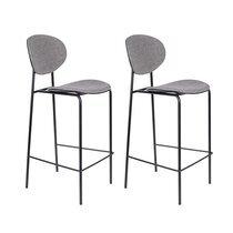 Lot de 2 chaises de bar H66 cm en tissu gris