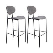 Lot de 2 chaises de bar H76 cm en tissu gris