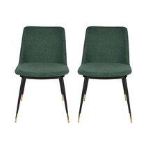 Lot de 2 chaises repas en tissu vert foncé - LIONEL