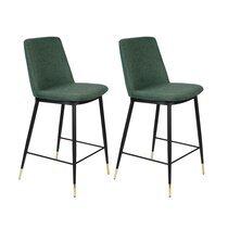 Lot de 2 chaises de bar H65 cm en tissu vert foncé - LIONEL