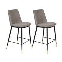 Lot de 2 chaises de bar H65 cm en tissu gris - LIONEL