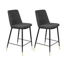 Lot de 2 chaises de bar H65 cm en tissu gris foncé - LIONEL