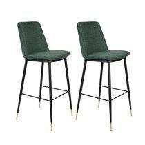Lot de 2 chaises de bar H75 cm en tissu vert foncé - LIONEL