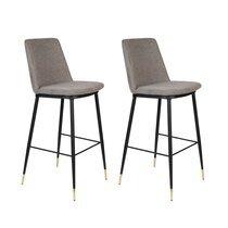 Lot de 2 chaises de bar H75 cm en tissu gris - LIONEL