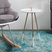 Table d'appoint ronde 37x60 cm en fer blanc et laiton