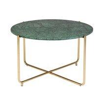 Table basse ronde 70x40 cm en marbre vert et fer laiton