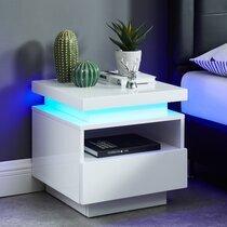 Chevet 1 tiroir 40x40x40 cm blanc avec led - COSMO